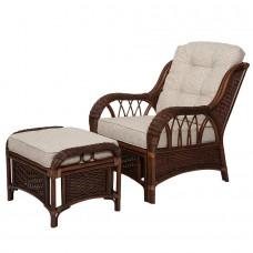 ALEXA комплект кресло для отдыха с пуфом (орех, белый)
