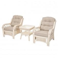 ALEXA комплект кресло 2шт с столом кофейным квадратным (орех, белый)