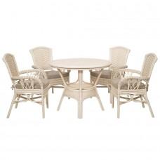 ALEXA комплект обеденный(орех,белый) (стол+стул с подлокотником 4шт)