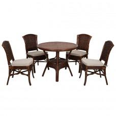 ALEXA комплект обеденный (орех,белый) (стол+стул без подлокотника 4шт)